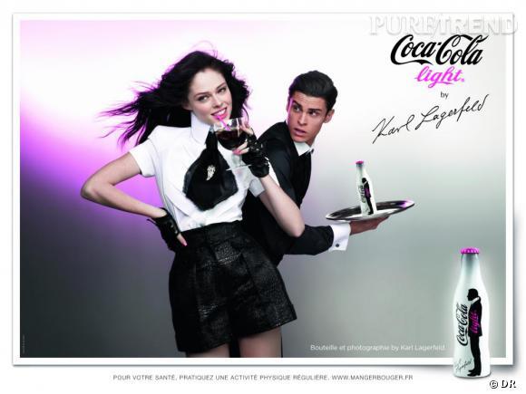 Coco Rocha et Baptiste Giacobini pour la campagne Coca-Cola light by Karl Lagerfeld
