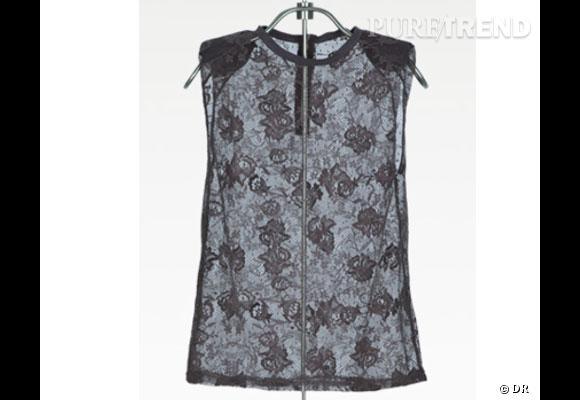 Top Zara De la dentelle transparente, des épaulettes, voilà un top qui a tout bon. Prix : 19.95€