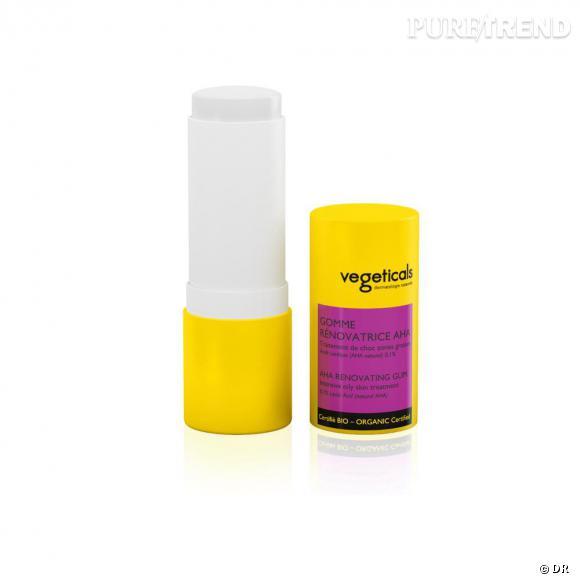 Une gomme anti brillance     Vegeticals lance le stick dermatologique végétal contenant de l'acide lactique naturel. Une gomme magique qui matifie la peau et efface cette désagréable sensation de micro relief.    Prix :  34 euros