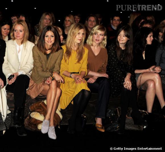 Kate Reardon de Tatler, Olivia Palermo, Clémence Poesy, Kirsten Dunst, Leith Clark de Lula et Gemma Arterton chez Mulberry.