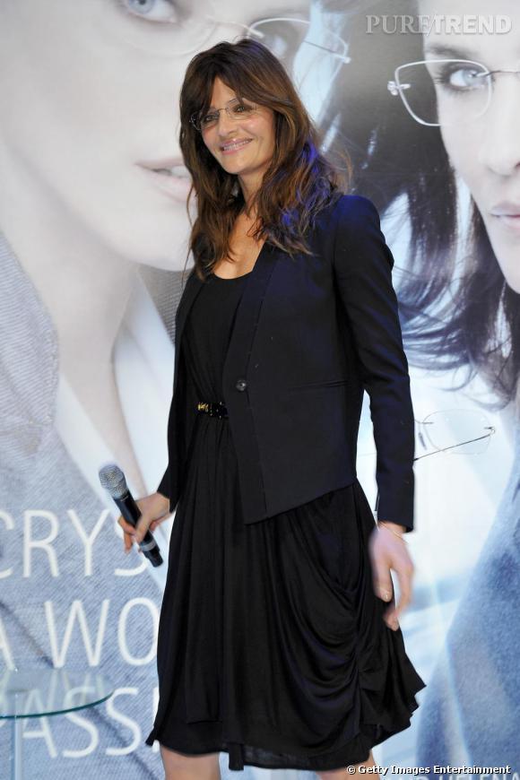 Helena Christensen à la présentation de lunettes Crystal, à Milan.