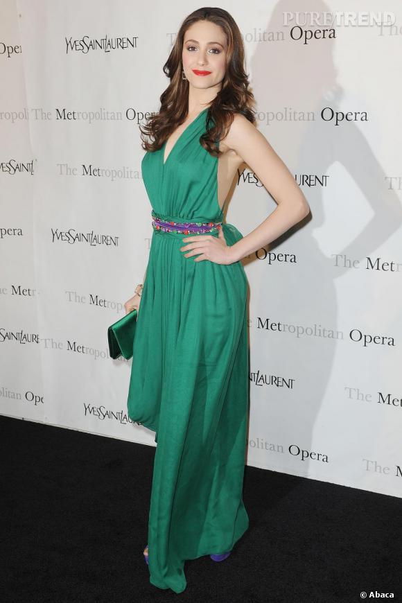 Emmy Rossum lors de la première du Comte Ory au Metropolitan Opera, à New York.