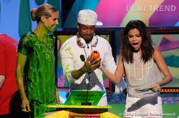 Heidi Klum, Nick Cannon et Selena Gomez aux Kids Choice Awards.