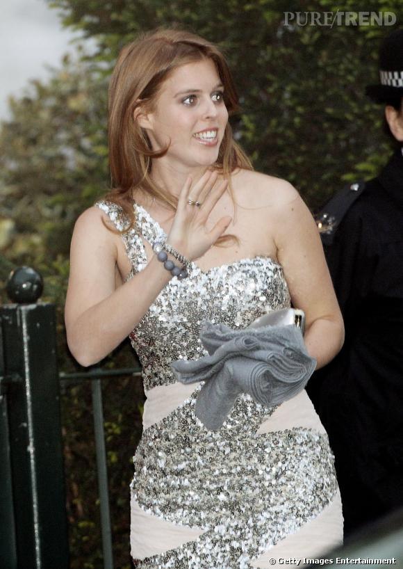 Beatrice d'York au dîner de gala organisé la veille du mariage de Kate Middleton et du prince William, à Hyde Park.
