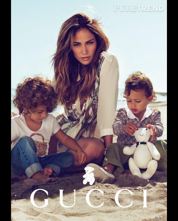 Max et Emme, accompagnés de leur superstar de maman JLo, pour Gucci.