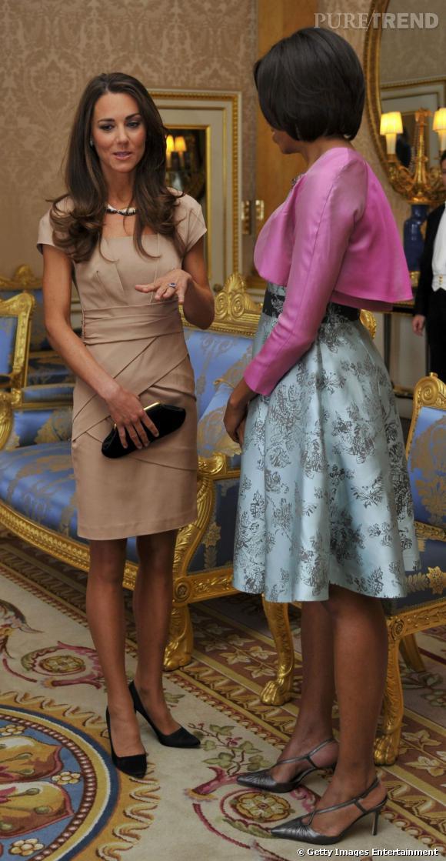 Kate Middleton à Buckingham Palace, avec Michelle Obama.