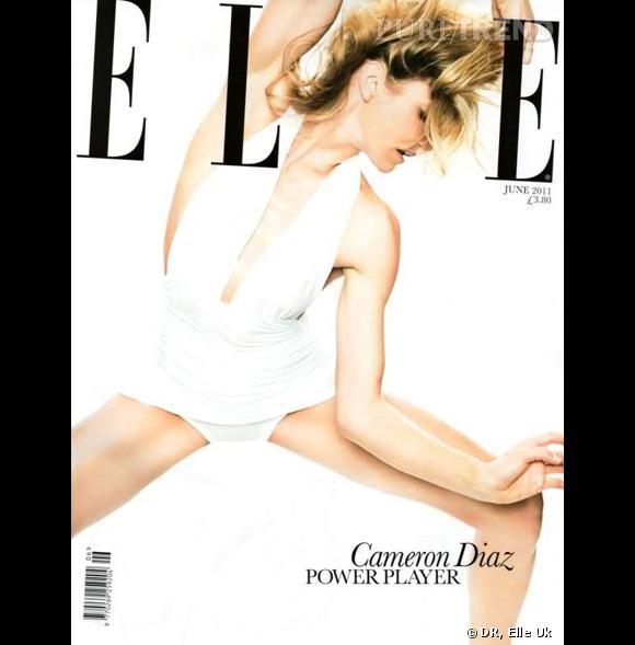 """Cameron Diaz, déchainée sur la couverture du """"Elle Uk"""", juin 2011."""
