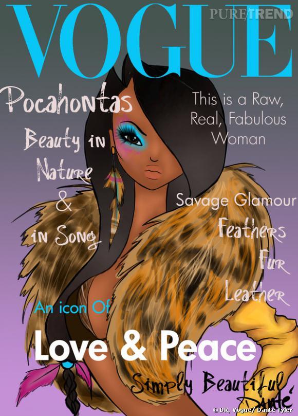 Pocahontas, une bombe à retardement en soutien-gorge et boucles d'oreilles à plumes pour la couverture de  Vogue .