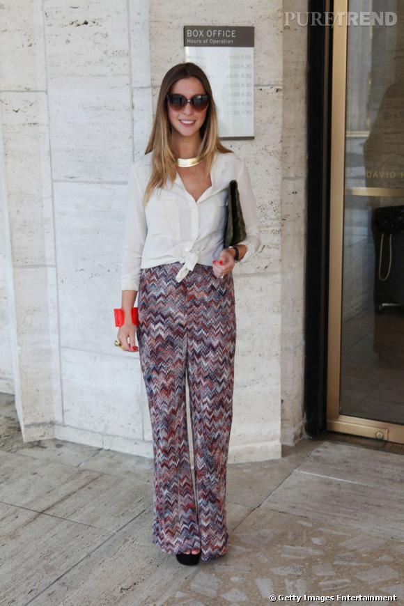 C'est qui ?    Kerry Pieri, rédactrice mode du site du magazine  Harper's Bazaar.        Son look ?    Une chemise J.Crew, un pantalon Missoni et des sandales à talon Prada.