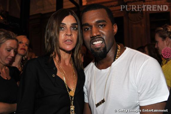 Carine Roitfeld et Kanye West lors du premier défilé du chanteur/styliste.
