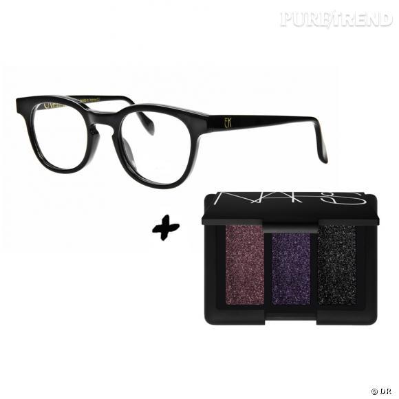 """Fard à paupières + lunettes : les it-combinaisons de l'Automne Lunettes Emmanuelle Khanh, 315 €. Palette """"Arabian Nights"""" Nars, 42 €, édition limitée chez Sephora."""