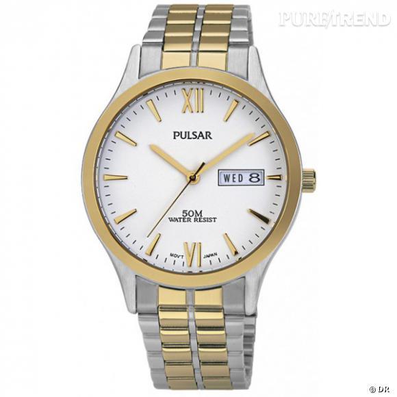 Montre Pulsar   Montre en acier gris et doré.  Prix : 89€ www.pulsar.tm.fr