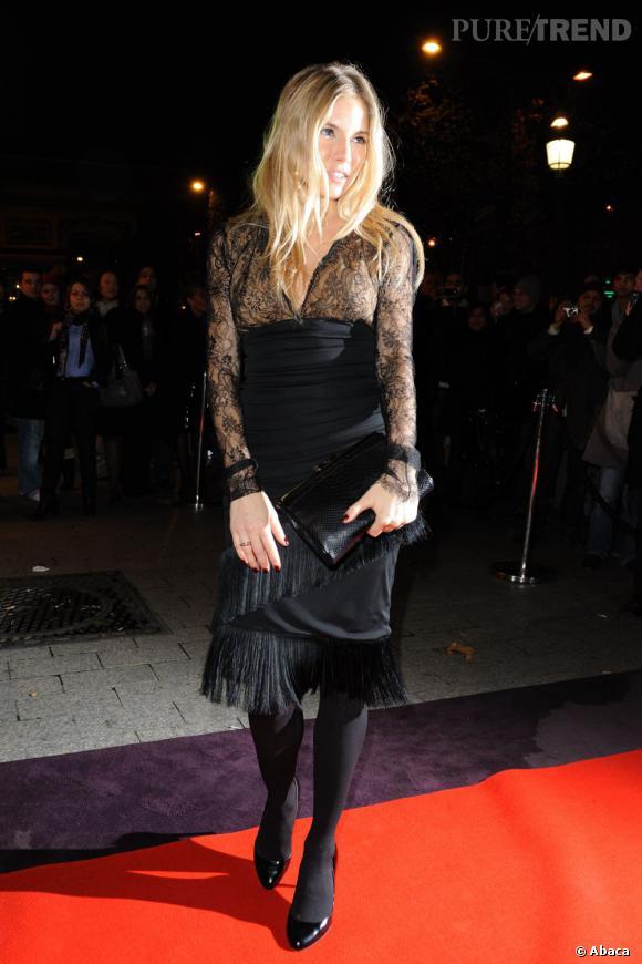 Sienna Miller à la soirée des 135 ans de Lancel à Paris.