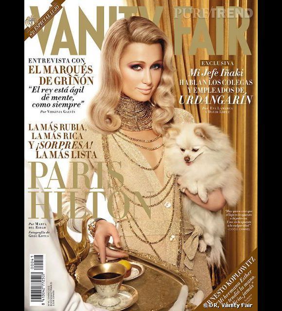 Paris Hilton, toute dorée en couverture du Vanity Fair de janvier 2012.