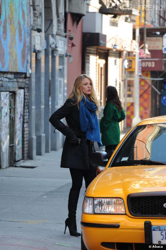 """Blake Lively sur le tournage de la saison 5 de """"Gossip Girl"""" à New York."""