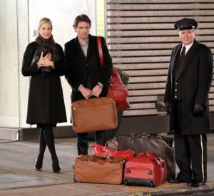"Kelly Rutherford et Matthew Settle sur le tournage de la saison 5 de ""Gossip Girl"" à New York."