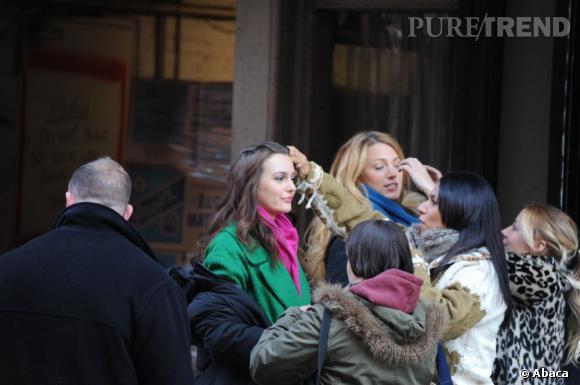 """Leighton Meester et Blake Lively sur le tournage de la saison 5 de """"Gossip Girl"""" à New York."""