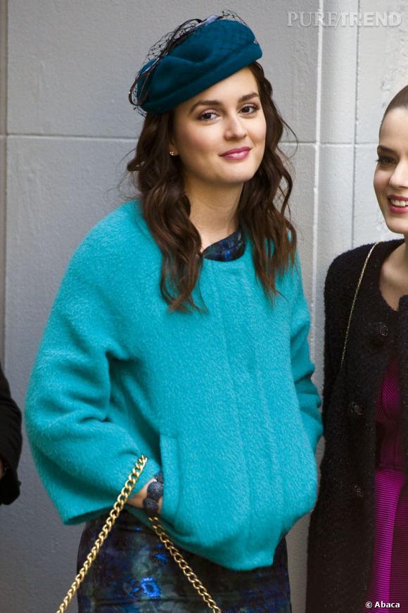 """Leighton Meester sur le tournage de la saison 5 de """"Gossip Girl"""" à New York."""