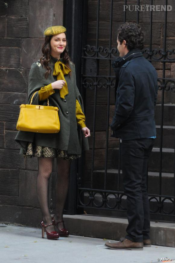 "Leighton Meester et Penn Badgley sur le tournage de la saison 5 de ""Gossip Girl"" à New York."