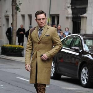"""Ed Westwick sur le tournage de la saison 5 de """"Gossip Girl"""" à New York."""