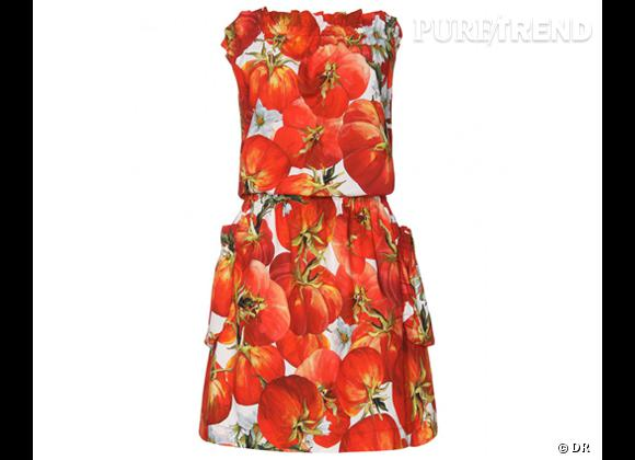 Focus tendance food obsession : le bon shopping    Robe imprimé tomates Dolce & Gabbana, 395 € sur  www.mytheresa.com