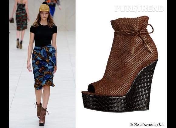 It-shoes : les must have des podiums Printemps-Eté 2012    Défilé Burberry Prorsum   Compensées Burberry Prorsum, 1295 €