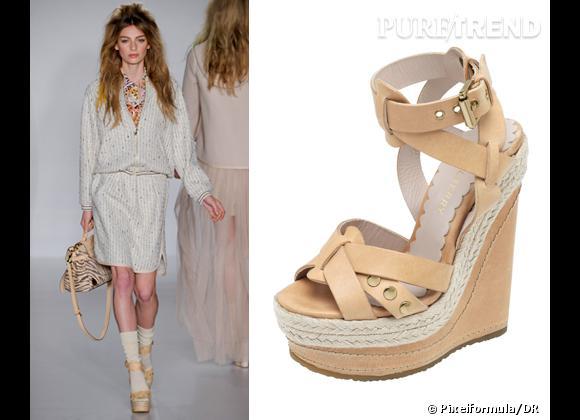 It-shoes : les must have des podiums Printemps-Eté 2012    Défilé Mulberry   Sandales compensées Mulberry, 690 €