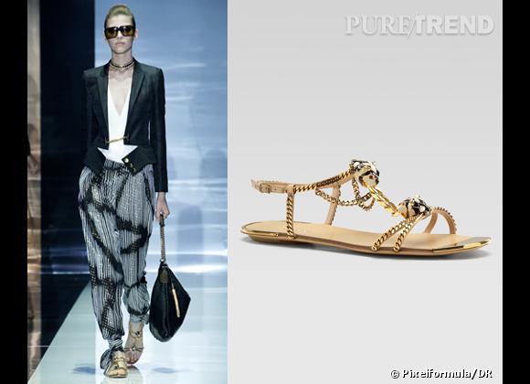 It-shoes : les must have des podiums Printemps-Eté 2012    Défilé Gucci   Nu-pieds Gucci, 1250 €