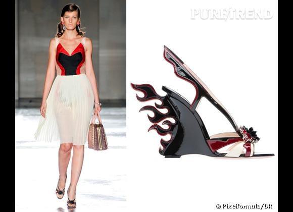It-shoes : les must have des podiums Printemps-Eté 2012    Défilé Prada   Compensées Prada, 860 €