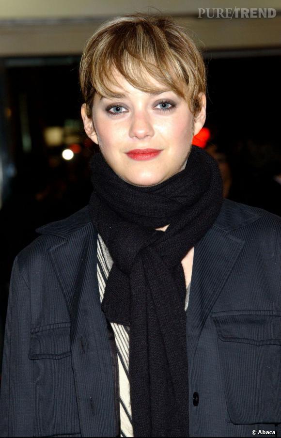 En 2004, Marion Cotillard se coupe la frange et teint ses cheveux en chatain très clair parsemé de blond.