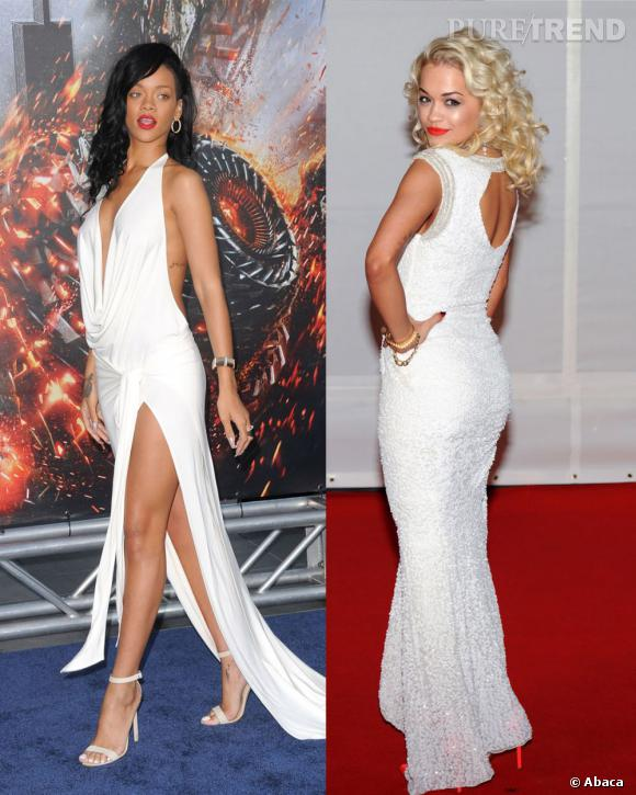 La diva Rihanna a du souci à se faire : pose glamour et robe ajustée, Rita Ora tient la route sur le tapis rouge