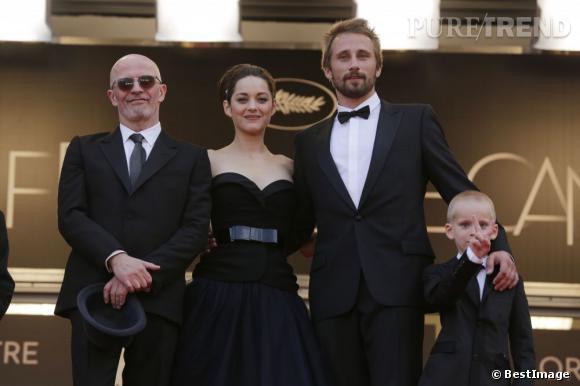 """Marion Cotillard, Jacques Audiard et Matthias Schoenaerts à la première du film """"De rouille et d'Os"""" lors de la deuxième journée du Festival de Cannes 2012."""