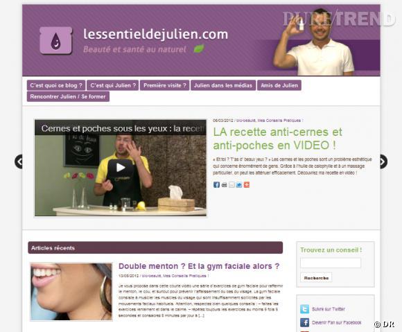 Le site :  L'essentiel de Julien   Accro aux soins bio et naturels, c'est par là que ça se passe. Julien, esthéticien belge, propose ses conseils et recettes maison en vidéo pour retrouver une belle peau. Surtout, il nous apprend à décortiquer les étiquettes et à faire le bon choix dans les rayons. Si vous êtes attirée par les cosmétiques home made, c'est le site où piocher de bonnes idées.    www.lessentieldejulien.com