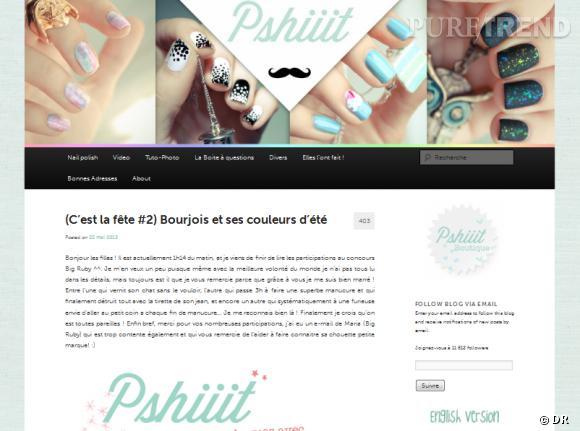 Le site :  Pshiiit   Vous ne vivez (presque) que pour vos vernis ? Direction le blog de Camille, une ancienne directrice artistique dans la publicité qui propose de partager sa passion pour les manucures originales. Elles sont toutes décortiquées, images à l'appui, pour se faire des doigts de fée. Le 1er avril dernier, elle a même ouvert sa propre boutique en ligne.    pshiiit.com