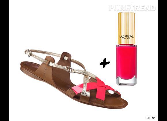 """It-shoes + it-vernis : les bonnes combinaisons de l'été 2012   Sandales Christian Dior, prix sur demande + Vernis à ongles """"Color Riche"""" L'Oréal Paris, 5,50 €"""