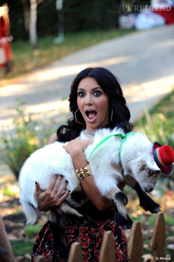 """Le top """"animaux"""" :  Kim Kardashian qui porte une chèvre chapeautée, il fallait y penser."""
