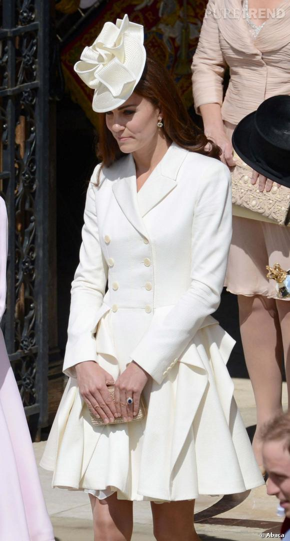 Kate Middleton à l'église St George pour le service de l'Ordre de la Jarretière au château de Windsor.