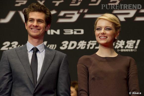 """Emma Stone et Andrew Garfield à la première du film """"The Amazing Spider-Man"""" au Japon le 13 juin."""