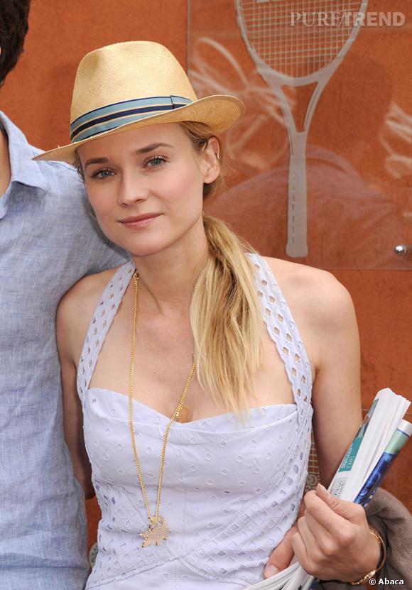 Comment porter le chapeau ?       Très estivale Diane Kruger se coiffe avec une queue de cheval basse portée sur le côté pour ne pas gêner la pose de son chapeau.