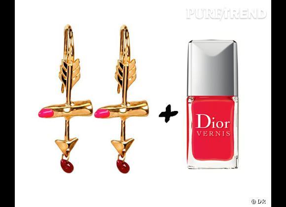 """It-bijoux + it-vernis : les bonnes combinaisons de l'été 2012 Boucles d'oreilles Delfina Delletrez, 360 € + vernis à ongles """"Summer Mix"""" Dior, 24 €"""