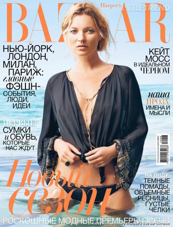 Kate Moss prend la pose en maillot de bain pour Terry Richardson. Issu du shooting pour le Harper's Bazaar US de juin/juillet 2012, le cliché fait la couverture de l'édition ukrainienne d'août .