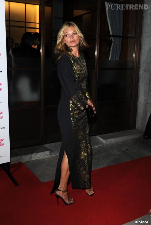 Kate Moss à la soirée caritative Fashion for Relief organisée par Naomi Campbell à Londres.