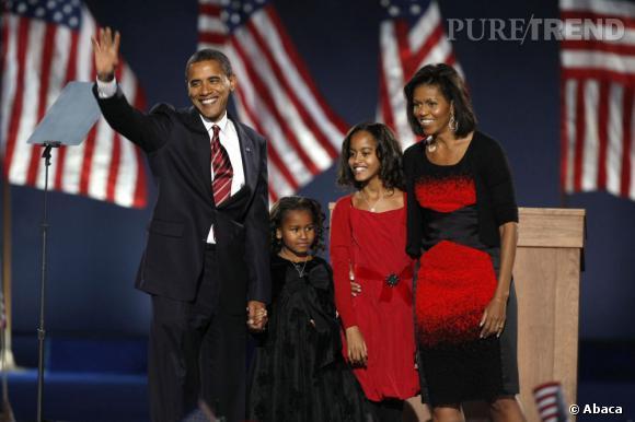 Michelle Obama en Narciso Rodriguez le soir des élections de 2008.