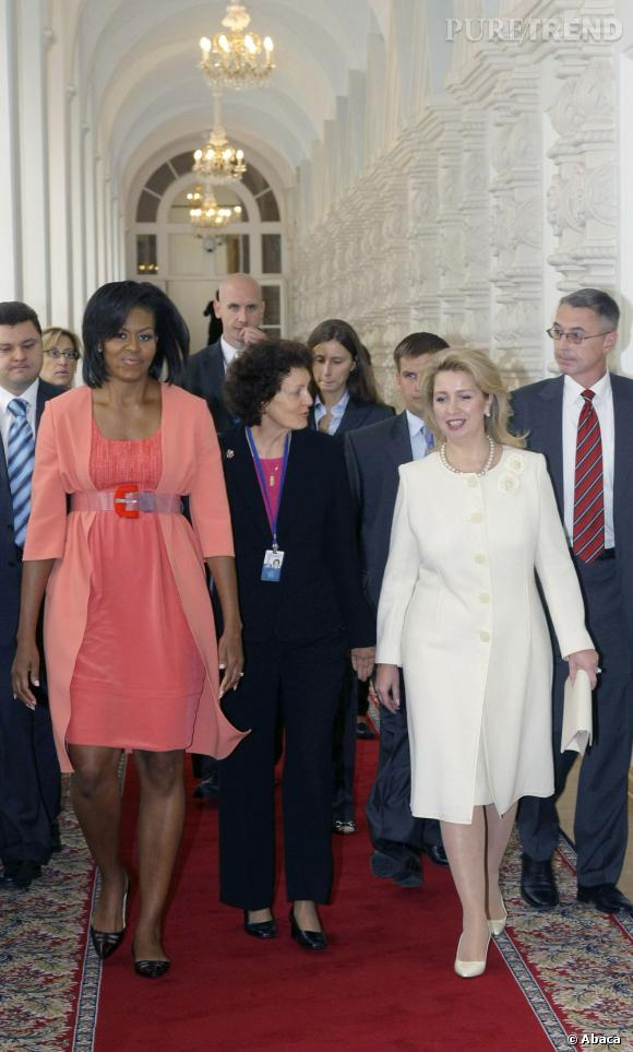 Michelle Obama en Narciso Rodriguez à Moscou en 2009.