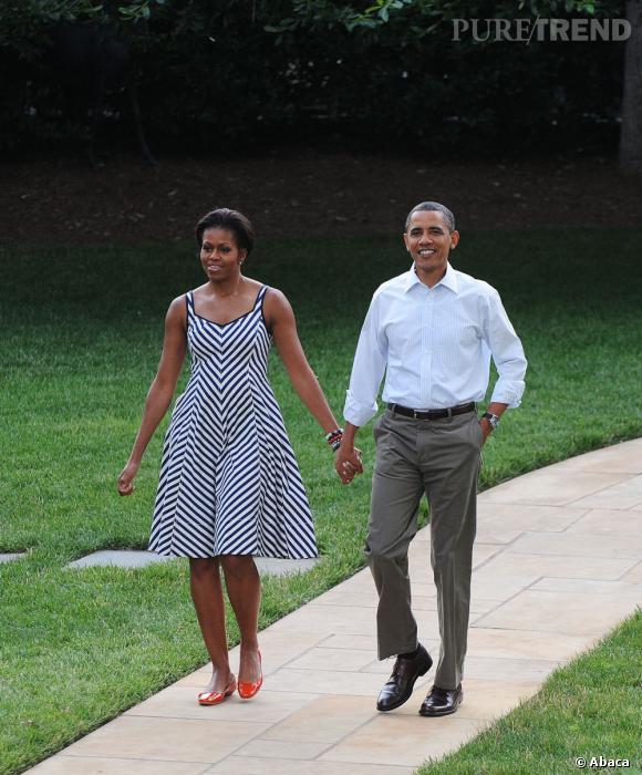 Michelle Obama, simple mais efficace pour une balade en amoureux avec son époux.