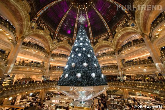 Sapin Swarovski Noël du Siècle des Galeries Lafayette Haussmann.