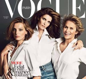 Trio de charme pour le Vogue Paris avec Daria Werbowy, Stephanie Seymour et Lauren Hutton.