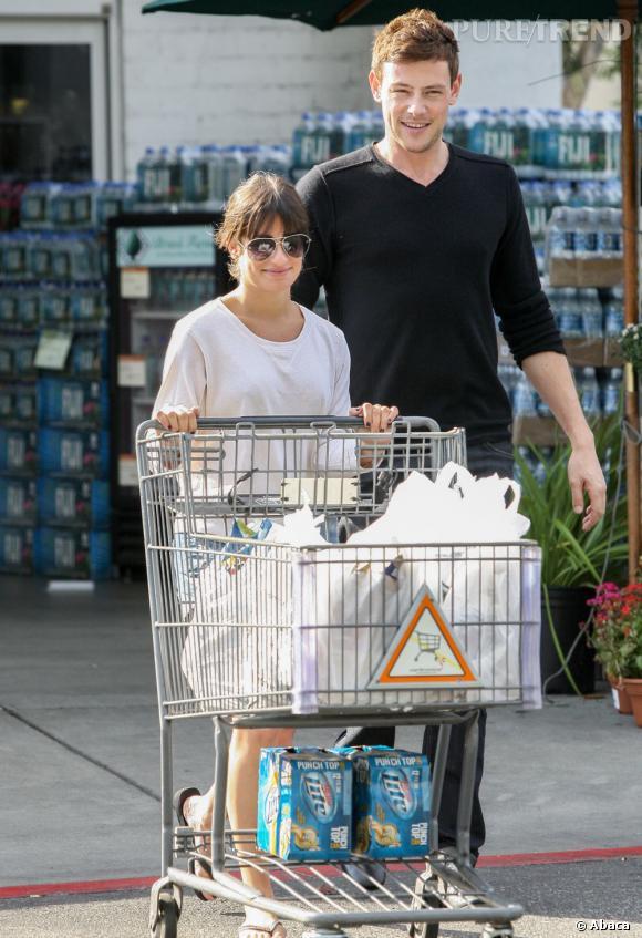 Lea Michele, très fière de faire ses courses avec son petit ami.