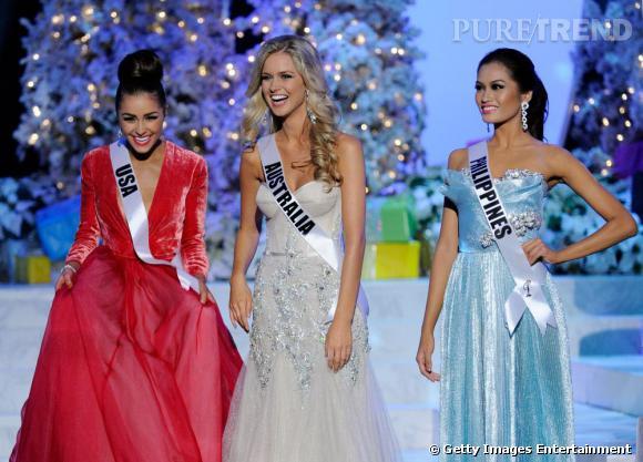 Olivia Culpo aux côtés de Miss Australia et Miss Philipines les finalistes de Miss Univers.