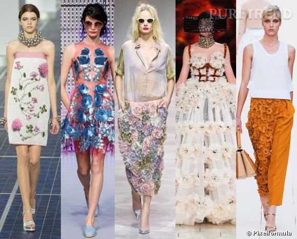 Les tendances phares du Printemps-Eté 2013 : les fleurs 3D       Vues aux défilés Chanel, Holly Fuklton, Dries van Noten, Alexander McQueen et Chloé